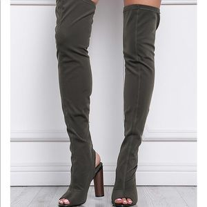 Olive Green Thigh Boots with chunky heels